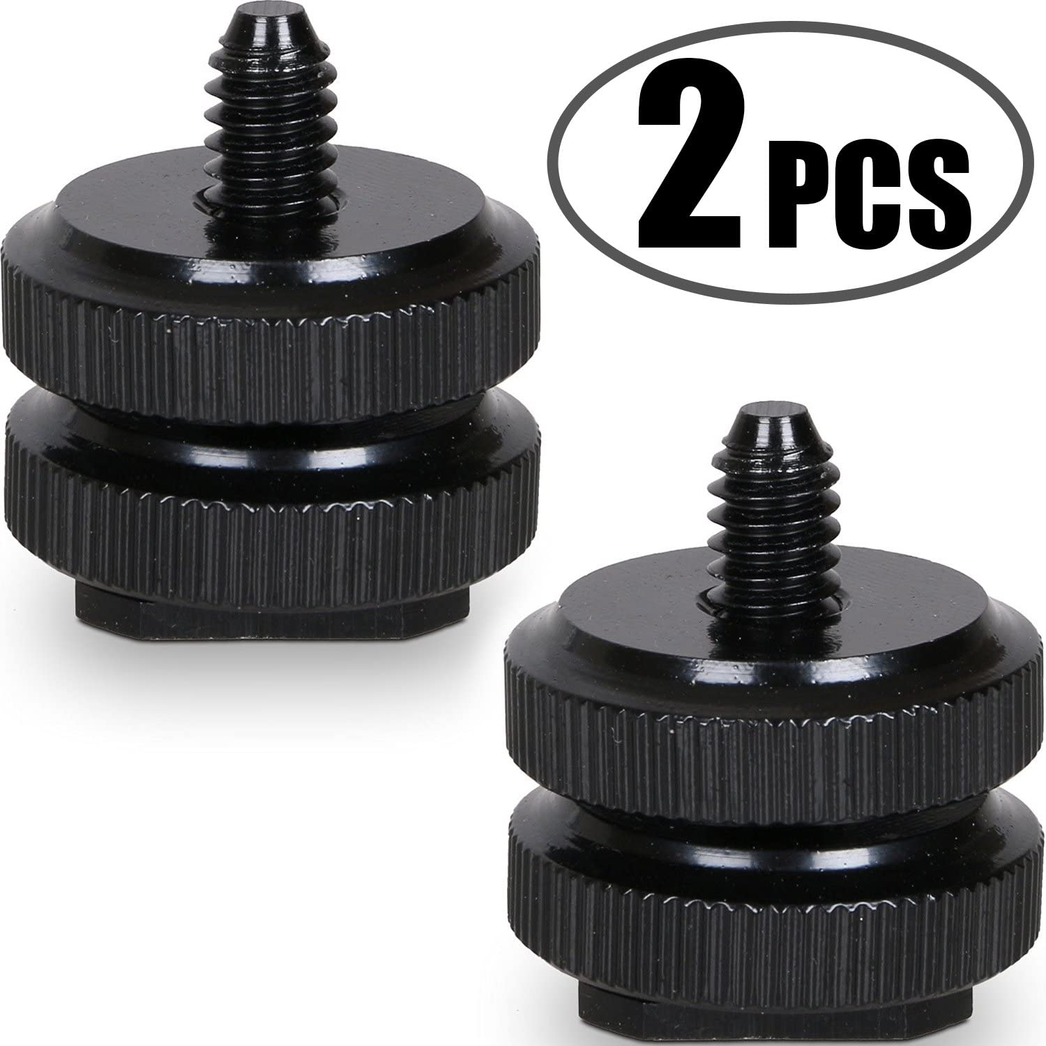 2 Packs Slow Dolphin 1//4 Inch Hot Shoe Mount Adapter Tripod Screw for DSLR Camera Rig