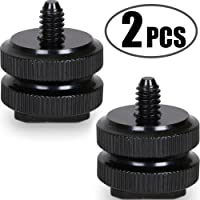 """Camera Hot Shoe Mount to 1/4""""-20 Tripod Screw Adapter,Flash Shoe Mount for DSLR Camera Rig (Pack of 2)"""