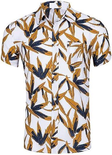 Auspiciousi Camisas para Hombre Causal Playa Impresión de Manga Corta Patrón de piña Top Europa Tamaño 2XL: Amazon.es: Ropa y accesorios