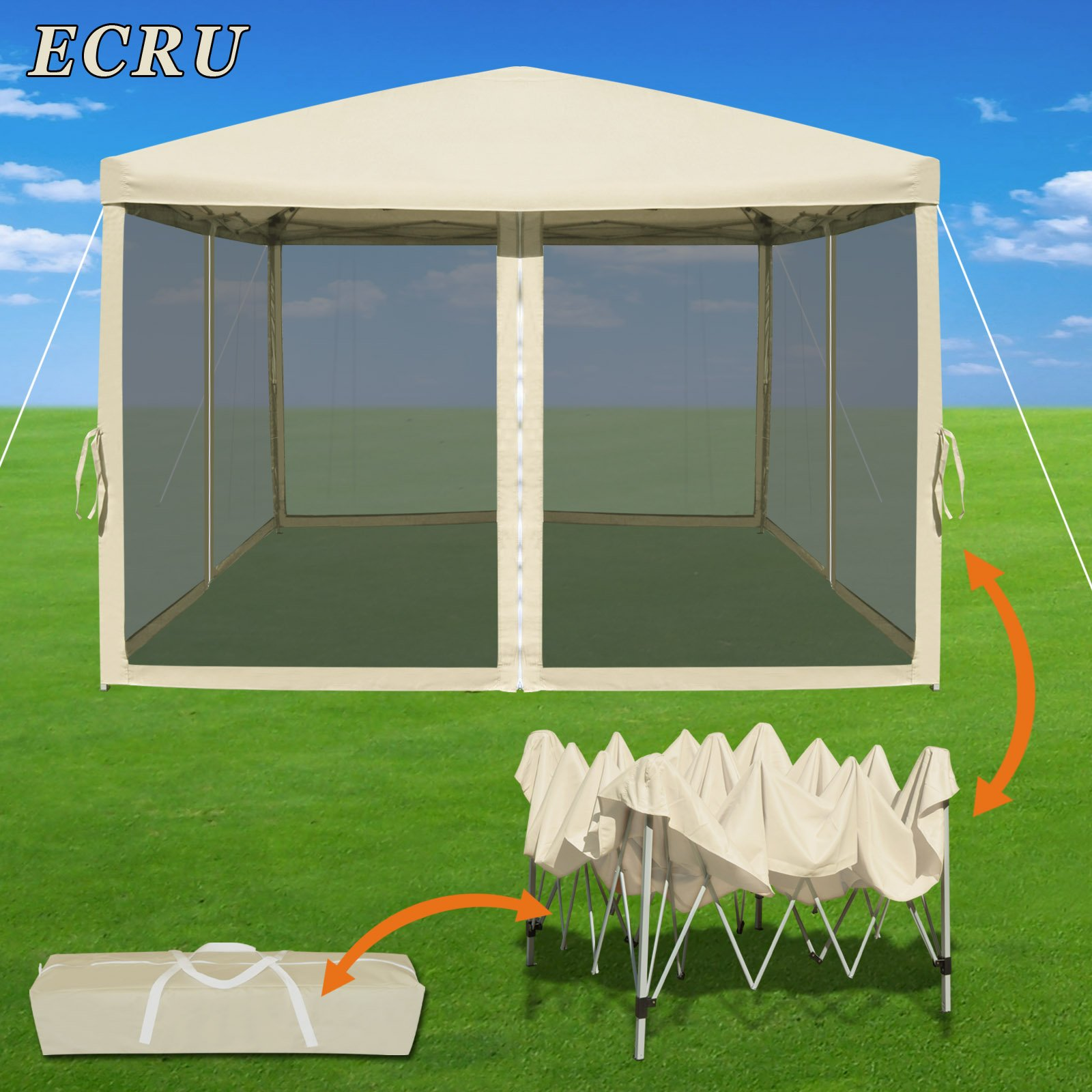 Strong Camel Easy Pop Up Canopy Tent 10-Feet x 10-Feet Gazebo with Mesh Side Walls Screen House (Ecru) by Strong Camel