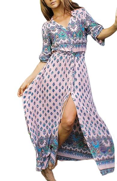 Vestidos Mujer Verano Largos Casual Vintage Estilo Etnica Bohemio Estampados Elegantes 3/4 Manga V