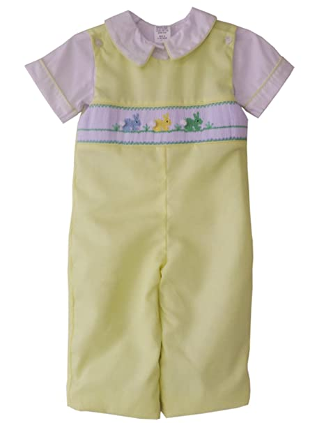 Amazon.com: Baby Boy amarillo Longall con Smocked trajes de ...