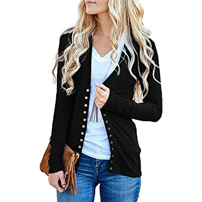Traleubie Women's Long Sleeve V-Neck Button Down Knit Open Front Cardigan Sweater at Women's Clothing store
