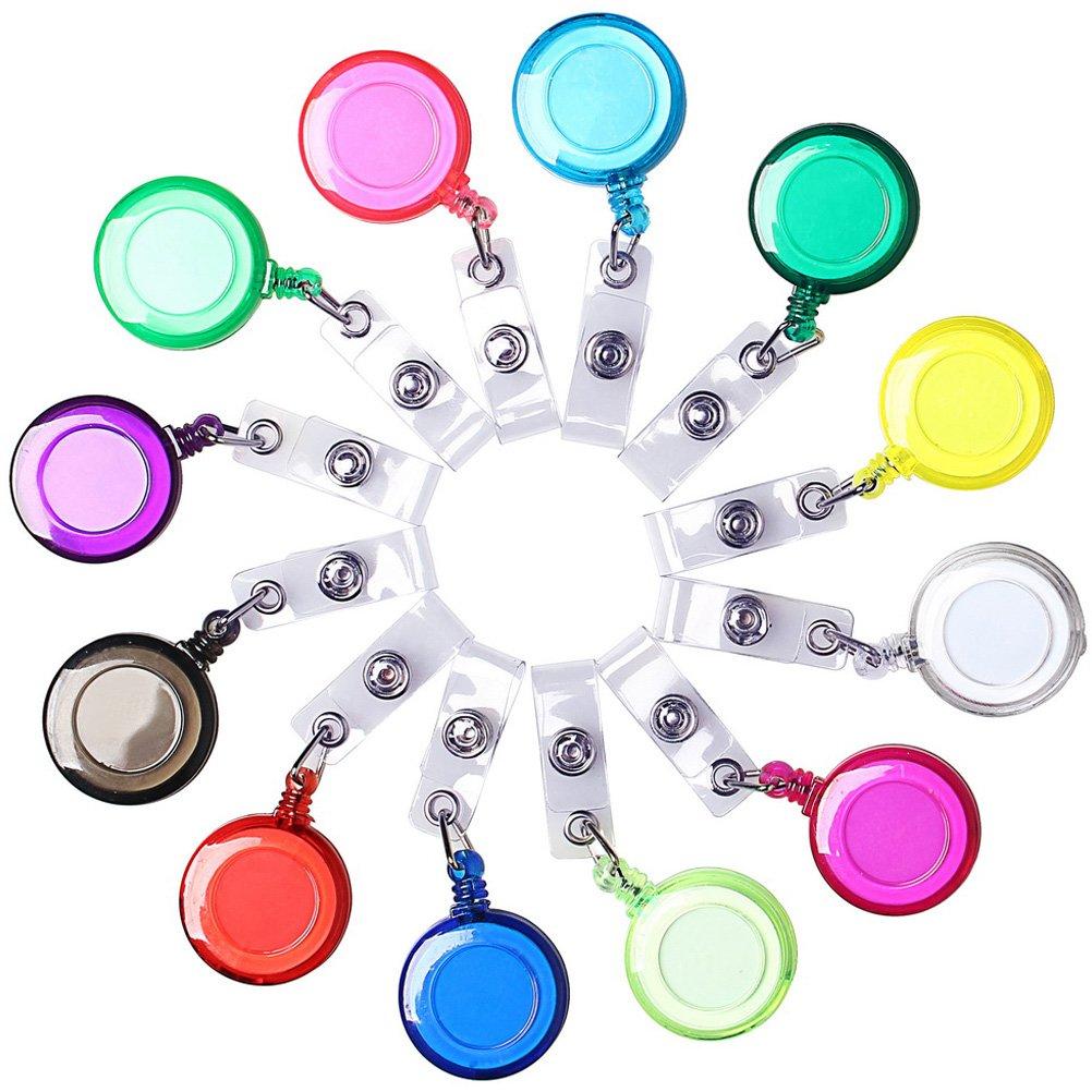 Portatarjetas retráctiles translúcidos de 12 piezas, carretes para llaves ajustables borte Carrete portaequipajes con clip