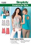 Simplicity Learn to Sew Pattern 1589 Misses Tops with Variations Sizes 4-6-8-10-12-14-16