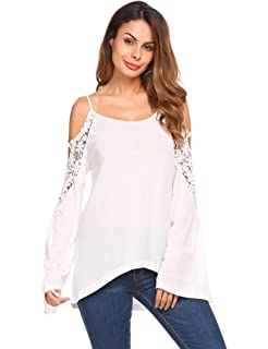 1a2cd20d80ab Dorani Women Blouse Fashion Spaghetti Strap Long Sleeve Cold Shoulder Lace  T-Shirt