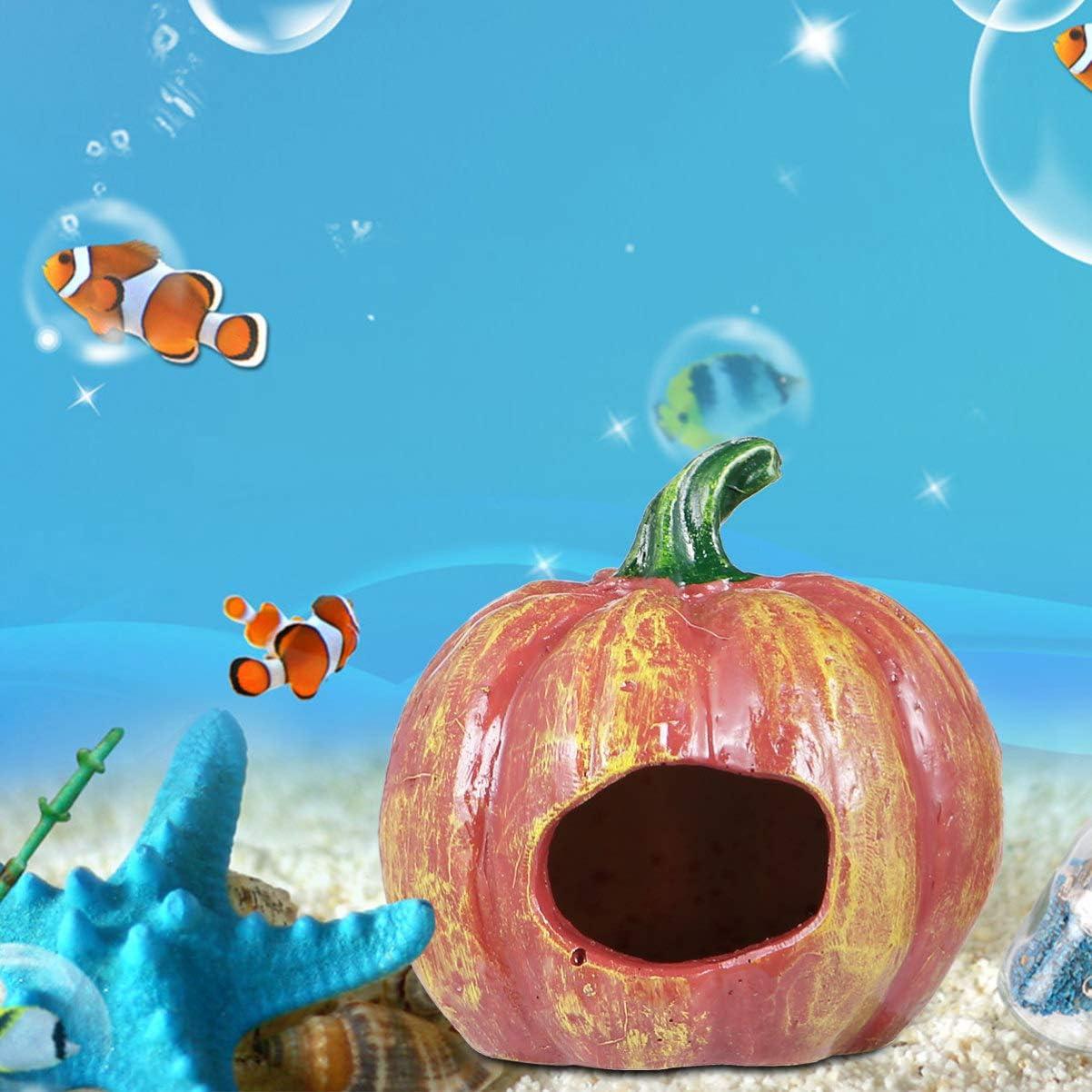 Balacoo 8pcs Resin Pumkin Fish Hideout with Artificial Aquarium Plants Decorative Fish Tank Cave Halloween Aquarium Ornament Fish Tank Decor