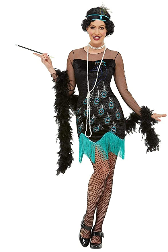 Roaring 20s Costumes- Flapper Costumes, Gangster Costumes Smiffys 47780M 20s Peacock Flapper Costume Women Green & Blue M - UK Size 12-14 $20.78 AT vintagedancer.com