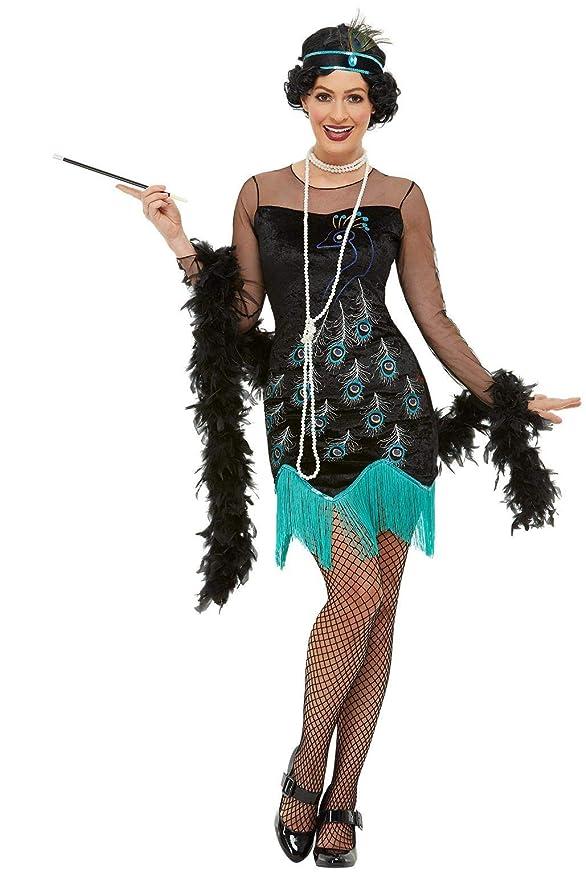 1920s Costumes: Flapper, Great Gatsby, Gangster Girl Smiffys 47780M 20s Peacock Flapper Costume Women Green & Blue M - UK Size 12-14 $20.78 AT vintagedancer.com