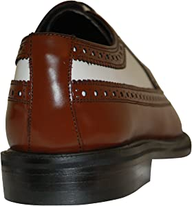 Brown and White Wingtips 1920s 1930s Vintage Style All Leather Two Tone Brogue Spectator Shoes