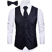 Cyparissus 3pc Paisley Vest for Men with Neck Tie and Bow Tie Set for Suit Tuxedo