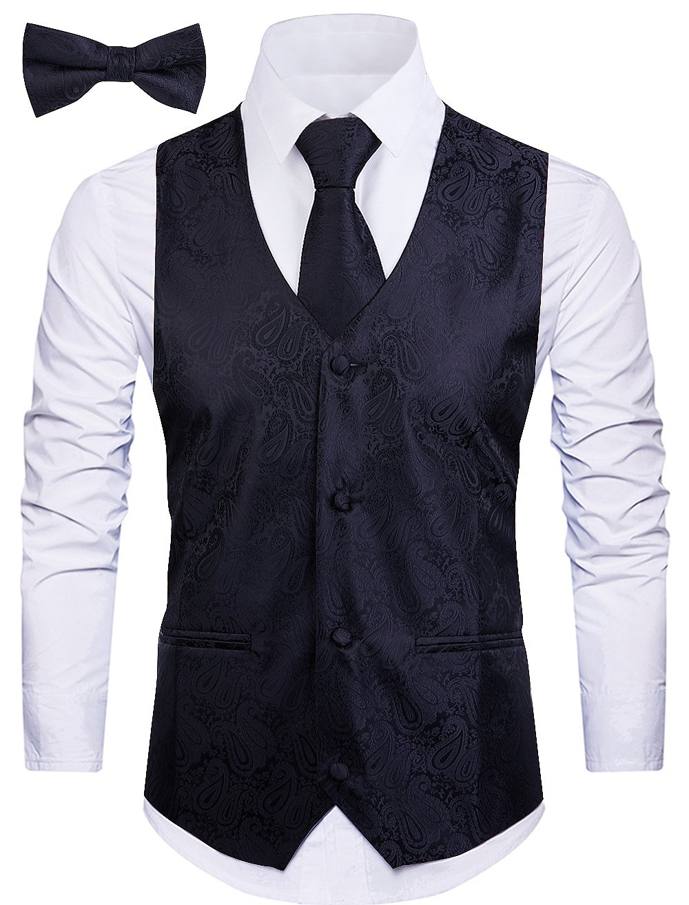 Cyparissus 3pc Paisley Vest for Men with Neck Tie and Bow Tie Set for Suit or Tuxedo (XL, Black)