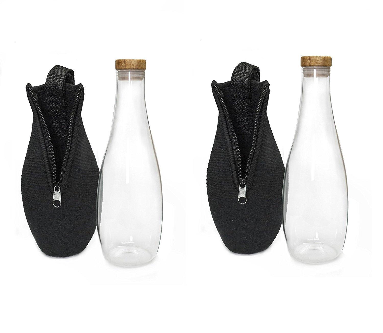 BFlowerYan, 2 unidades 480 ml botella de agua de vidrio de borosilicato con funda de nailon, portátil y elegante: Amazon.es: Deportes y aire libre