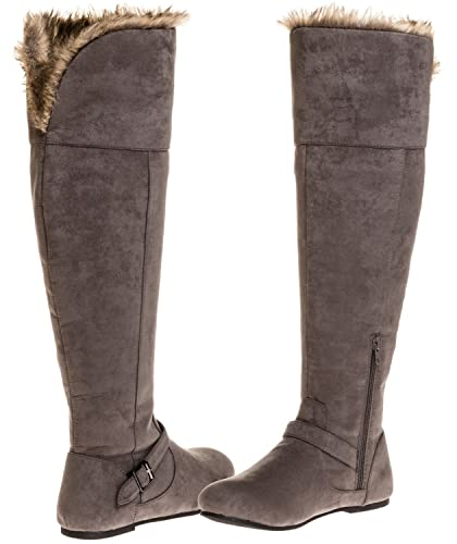 345caddc2bb Sara Z Ladies Over The Knee Microsuede Fur Lined Boot (Grey)