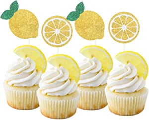 LILIPARTY 24Pcs Glitter Lemon Cupcake Toppers Fruits Theme Party, Lemonade Party Decor, Summer Cupcake Toppers, Main Squeeze Party Decorations Tutti Frutti Cupcake Topper