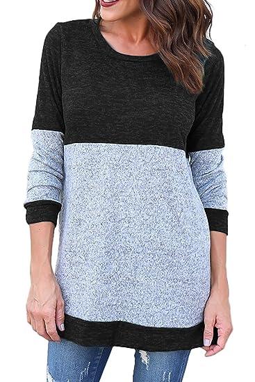 49b9c798582fd3 Kancystore Girls Long Sweaters Women s Long Sleeve Knitted Color Block  Stripe Lightweight Sweatshirts Black M