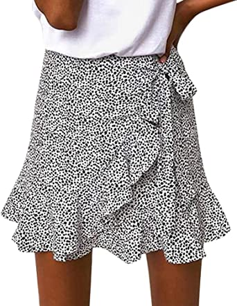 ShallGood Falda Mujer Elástica Plisada Básica Casual Leopardo ...