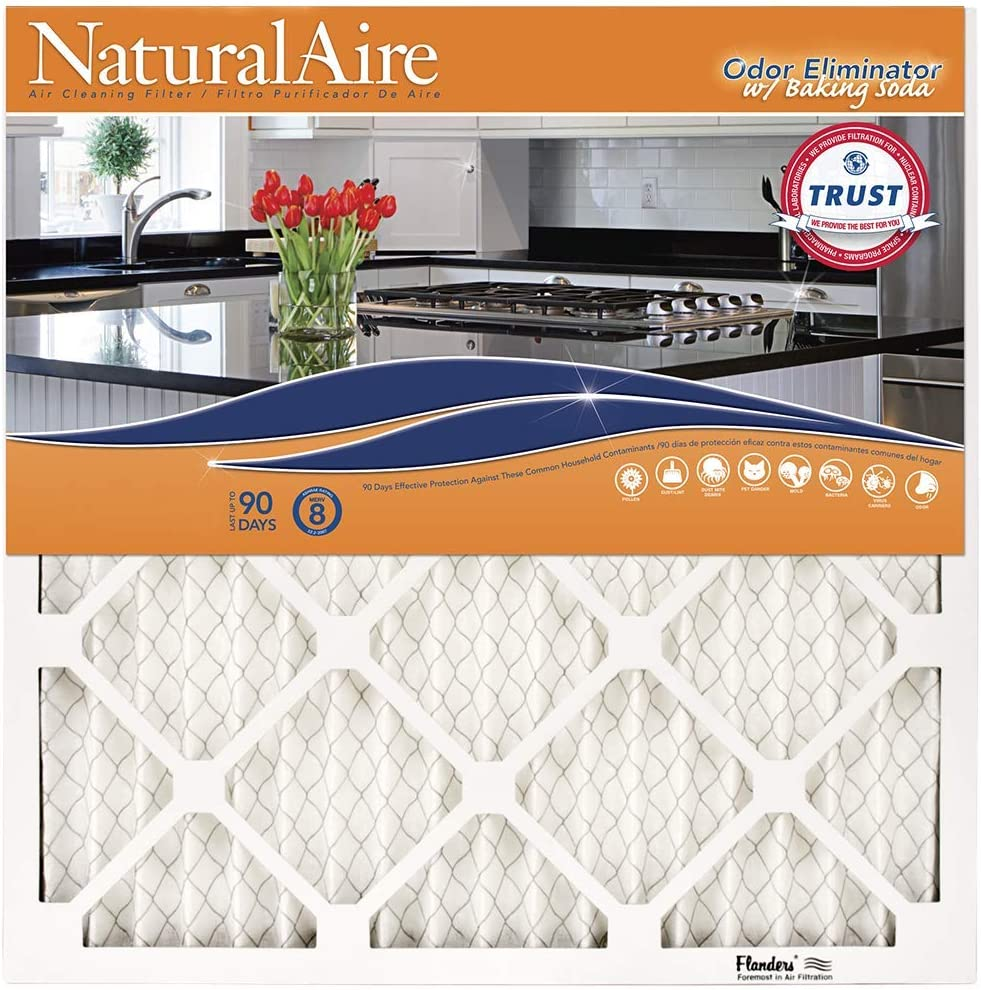 NaturalAire Odor Eliminator Air Filter with Baking Soda, MERV 8, 10 x 20 x 1-Inch, 4-Pack
