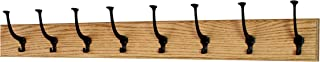 product image for PegandRail Solid Oak Wall Mounted Coat Rack - Large Black Mission Hooks - Made in The USA (Golden Oak, 41 x 4.5 X-Wide - 8 Hooks)