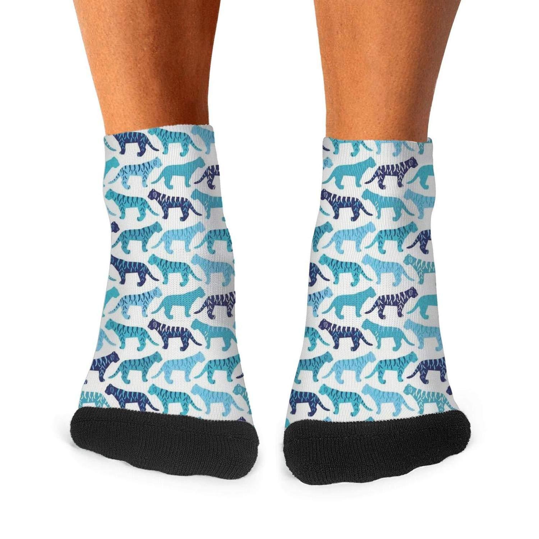 Mens Athletic Low Cut Ankle Sock Blue Tiger Art Design Short Cute Sock