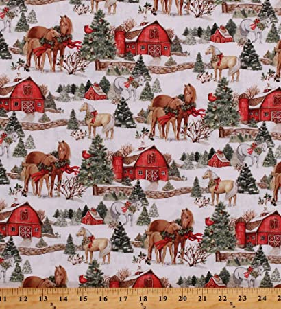 Christmas Horse Pictures.Cotton Christmas Horses Animals Barns Winter Holiday Two Horse Scenic Cotton Fabric Print By The Yard 66700 A620715