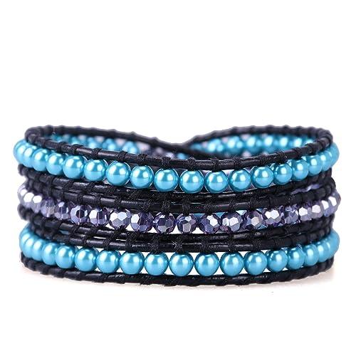 KELITCH Azul Imitación Perlas Y Púrpura Cristal Vaso Abalorios Negro Cuero