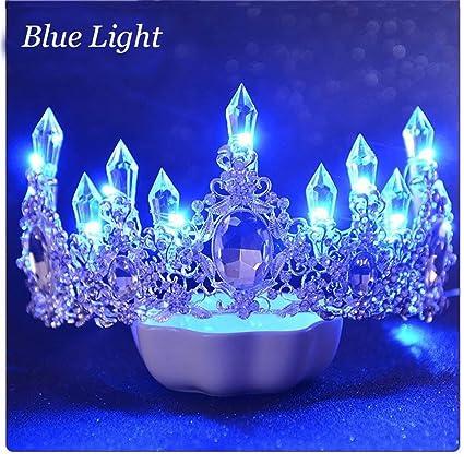 Amazon.com: Luminous Crown Women Brithday Party Wedding Hair Decorations Led Lights Tiara Crown Bride Flower Queen Crown Hair 107 Blue Light: Beauty
