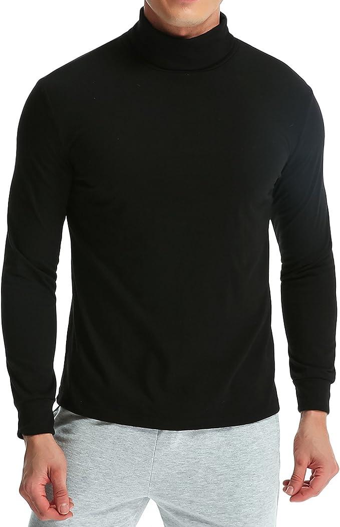 MODCHOK Hombre Camiseta de Manga Larga T-Shirt Cuello Alto Top tee Algod¨®n Slim Fit?