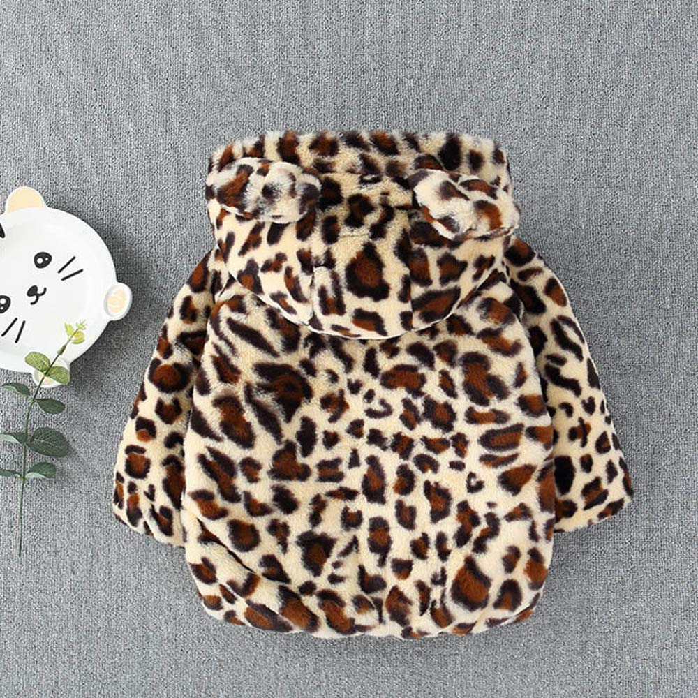 KONFA Teen Toddler Baby Boys Girls Winter Warm Outerwear Clothes,Cotton Ears Hooded Jacket Leopard Print Snowsuit Coat