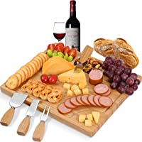 ROYAMY Bamboo Cheese Board Set with 4 Stainless Steel Knife, Double-side Meat Charcuterie Platter Serving Tray, Perfect…