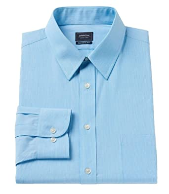 b789025b68be30 Arrow Mens Classic Fit Dress Shirt Fine Line Pin Stripe Blue (16-16.5""