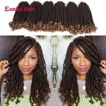 Eunice 6 Packs 12 Inch Ombre Brown Crochet Hair Braids Short Havana Mambo  Twist Crochet Braiding Hair Senegalese Twists Hairstyles For Black Women 20
