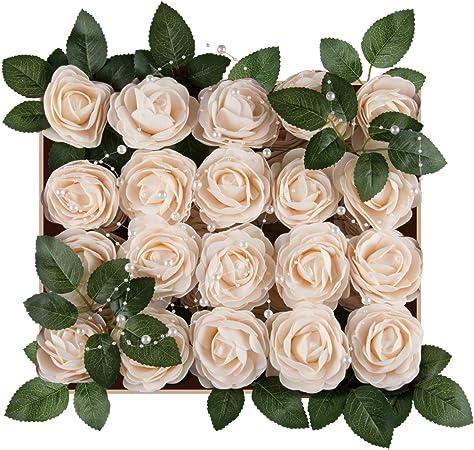 red 10pcs Accessories Wreaths Supplies Bride Bouquet Stem Rose Flowers Artificial Flowers Wedding Foam Rose
