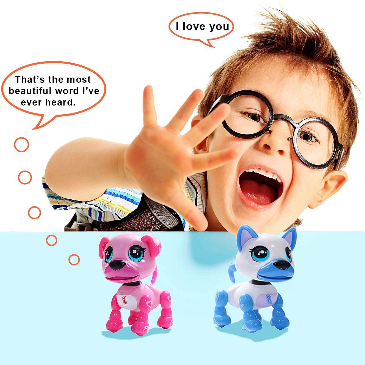 amdohai Interactive Puppy - Smart Pet, Electronic Robot Dog Toys for Age 3 4 5 6 7 8 Year Old Girls, Gifts Idea for Kids ● Voice Control&Intelligent Talking (Pink) by amdohai (Image #2)