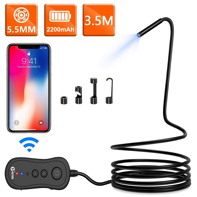 KZYEE Endoscopio Wireless 2,0 MP 5,5mm 1080P HD Telecamera Di Ispezione/Boroscopio Reset Impermeabile per iOS iPhone Android Smartphone Tablet/ 10 M Semi-Rigido Cavo