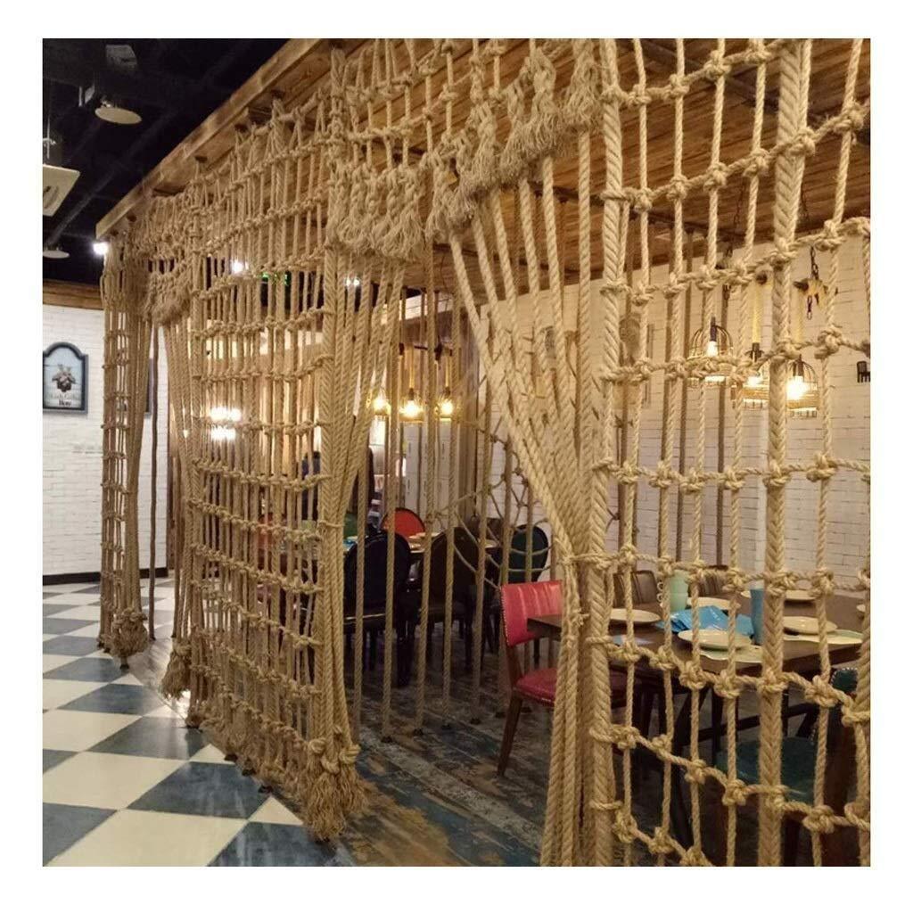 CANQUANWANG Hemp Rope net, Indoor Wall Decoration net, Photo net, bar Disco Restaurant Ceiling net, Vintage Decorative net (Size: 29m) (Color : Mesh12cm, Size : 25m) by CANQUANWANG