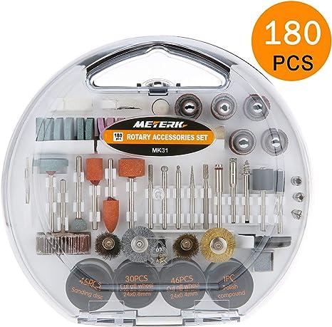 Accesorios de herramientas rotativas, Meterk 180pcs diámetro de mangos 1/8