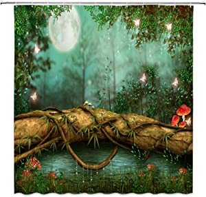 Jingjiji Fantasy Forest Shower Curtain Fairy Tale Mushroom Jungle Green Tree Pond Meadow Butterfly Elf Night View Moon Bathroom Decoration Curtains Polyester Fabric with Hook (Green, 70 X 70 Inch)