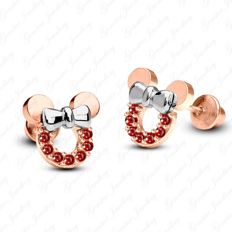 Gemstar Jewellery Round Shape Black Simulated Diamond Two Tone Gold Finish Minnie Mouse Stud Earrings