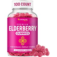 Sambucus Elderberry Gummies for Kids and Adults Plus Vitamin C, Propolis and Echinacea for Immune Support   Delicious…