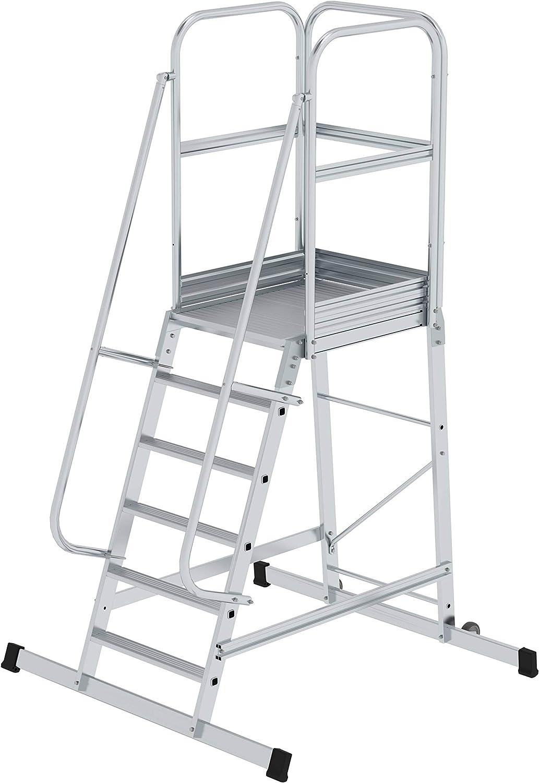 GÜNZBURGER STEIGTECHNIK Escalera de aluminio con plataforma móvil 6 peldaños: Amazon.es: Bricolaje y herramientas
