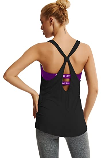 10c6b52f744a05 Duppoly Womens Athletic Tank Tops Open Back Workout Clothes Basic Sexy  Camisole Thick Strap Halter Tee