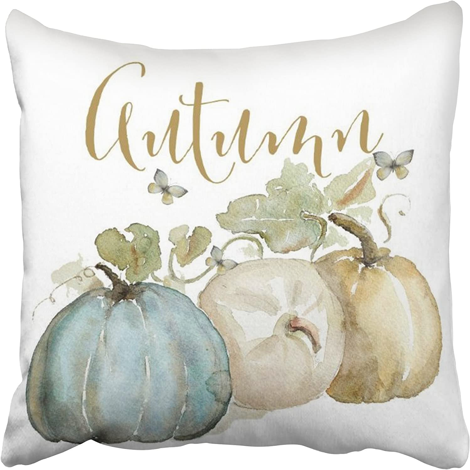 Accrocn Pillowcases Decorative Autumn Fall Blue Gray Pumpkin Watercolor Throw Pillow Covers Case Cases Cover Cushion Sofa Size 18x18 Inches Two Side