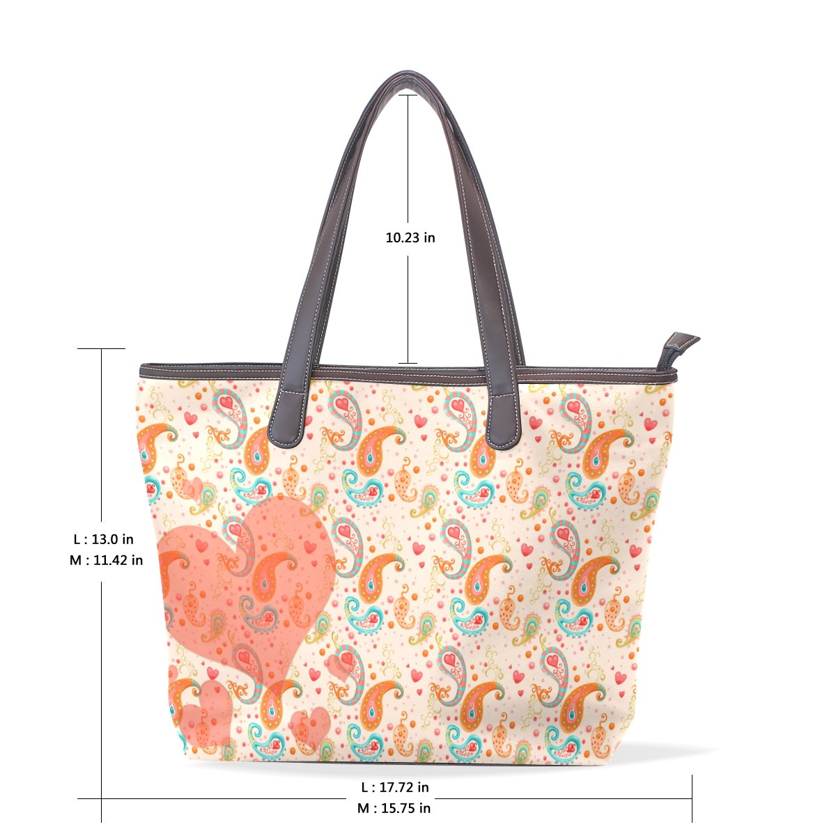 Sunlome Abstarct Floral Paisley Handbags For Women Girls PU Leather Shoulder Tote Bag