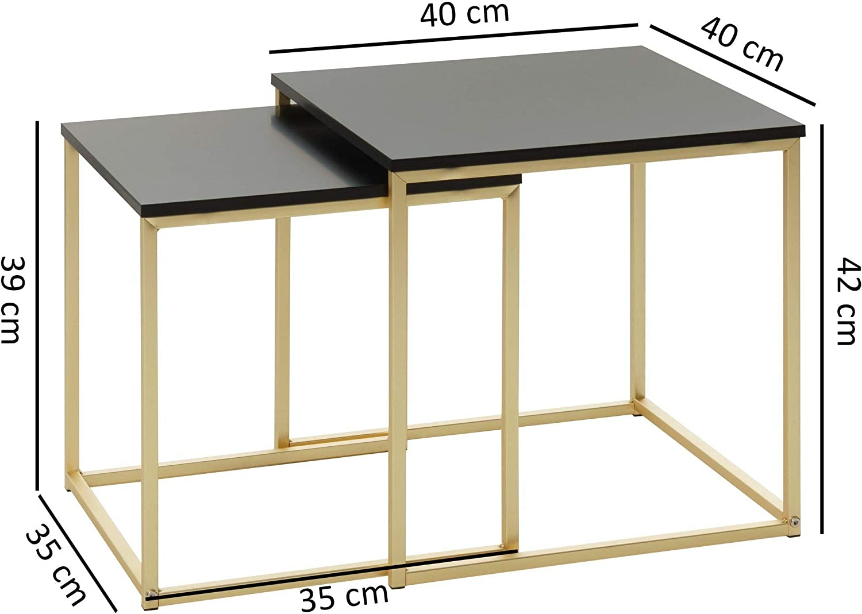 KS-Furniture Cala - Mesa Auxiliar (Tablero DM, 2 mesas, Metal, Tablero de Madera), Color Negro y Dorado: Amazon.es: Juguetes y juegos