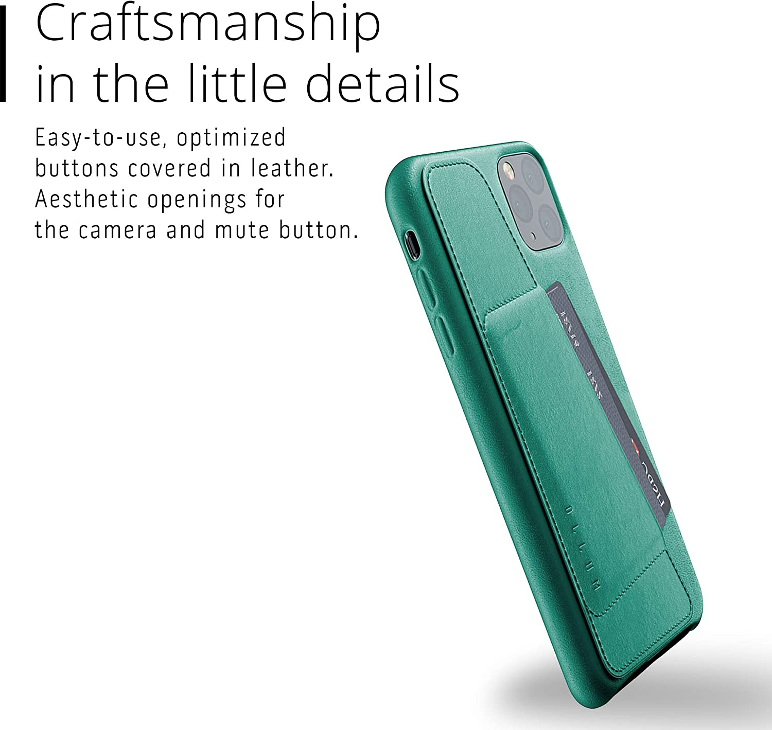 Mujjo Full Leather Wallet Case for Apple iPhone Pro Max 2-3 Card Holder Pocket Premium Soft Supple Leather Unique Natural Aging Alpine Green