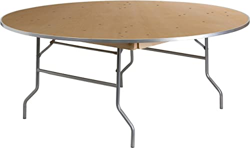 Flash Furniture 6-Foot Round HEAVY DUTY Birchwood Folding Banquet Table with METAL Edges