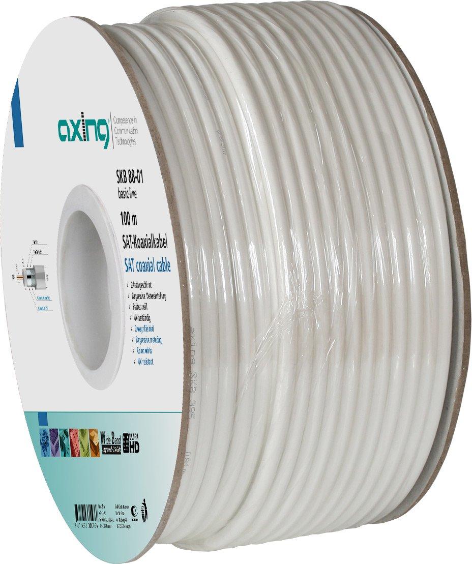 Axing SKB 88-01 2-con cable coaxial para satélite/BK-instalación de la casa (100 m) blanco: Amazon.es: Electrónica