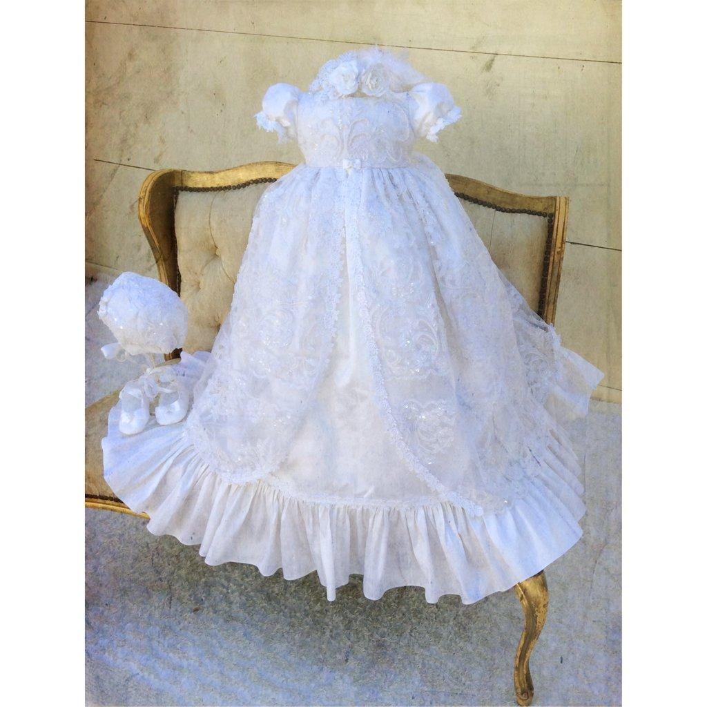 Cinda Sombrero y vestido de bautizo beb/é ni/ña encaje