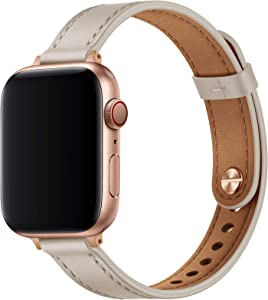 OUHENG Slim Band Compatible with Apple Watch Band 40mm 38mm 44mm 42mm, Women Genuine Leather Band Replacement Thin Strap for iWatch SE Series 6 5 4 3 2 1 (Ivory White/Rose Gold, 40mm 38mm)